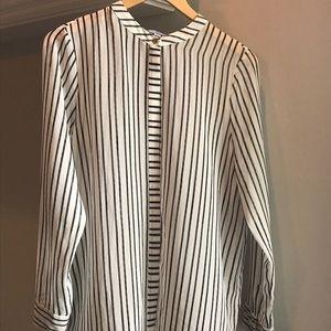 Halston black and white striped blouse